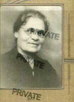 Antique Photo-Older Lady W/ Glasses-Art Deco Fldr-Enid Oklahoma-McConkay Photog