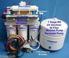 White Reverse Osmosis 7 Stage 100/150 gpd RO/DI/UV/Booster/Permeate w/Tank