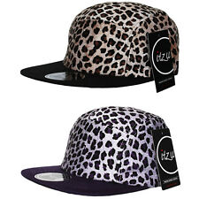 RARE - ITZU Co. Leopard Print 5 Panel Snapback Cap Hat Snap Back Brown Purple