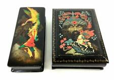 2 Vintage Russian Lacquered Hand Painted Black Lacquer Wood Trinket Boxes Signed