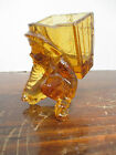Vintage Amber Glass Child With A Box On Back Toothpick Holder