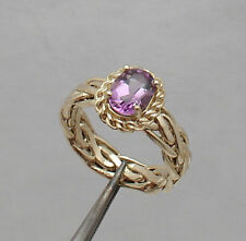 Size 7 Real Purple Amethyst Gemstone Wheat Spiga Ring Real 10K Yellow Gold