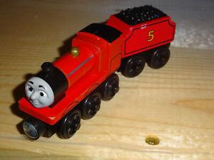 Thomas & Friends Wooden Railway Train James with Tender #5 Gullane