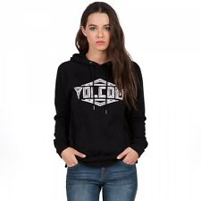 2016 NWT WOMENS VOLCOM COMMIN BACK HOODY $49 S black pullover cotton graphic