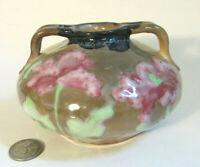 Antique RSTK Amphora Teplitz Austria Art Nouveau Pottery Squat Handled Vase 3361