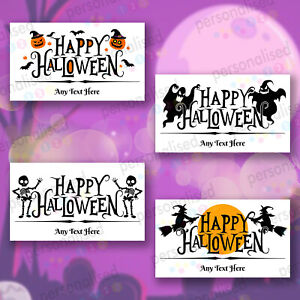 Personalised Happy Halloween Stickers Rectangular Labels Party Bag Sweet Cones