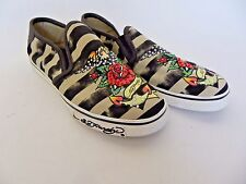 Ed Hardy Slip On Slide Canvas Sneakers Shoes Black Tan Rhinestones Rose Size 6.5