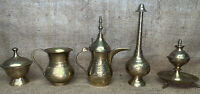 Antique Brass Copper 5 Pc Small Coffee Pot Incense Islamic Arabic Middle Eastern