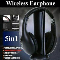 5 in 1 Headset Wireless Headphones Cordless RF Mic for PC TV DVD CD MP3 MP4 CHL