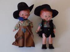 """COPPIA Boy Girl 1920s 1930s celluloide bambole Cowboy Cowgirl Rattler Texas 7"""" RARA"""