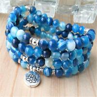 6MM Blue Agate Bracelet 108 Beads Lotus Pendant Lucky Healing Yoga Handmade Mala