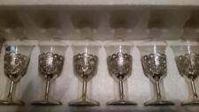 Vintage Raimond Japan Shot Glasses Silverplated & Glass Stemmed Holders Set of 6