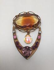 Vintage Art Nouveau Czech Huge Glass Stone & Rhinestones Brooch/Pendant