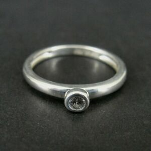 Ring Silver Cubic Zirconia Stone Surround Dainty Sterling 925 Size 5 Ring Band