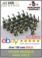 21 Minifigures Green Dragon Army Knights Castle King  - LE GO Compatible