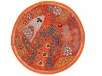 """Orange Decorative Round Floor Pillow Cover Living Room Seating Sari Cushion 26"""""""
