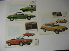 1975 Fiat X1/9, 124 Sport Spider & 128 Sport L Coupe Spec Sheets....Lot of 3