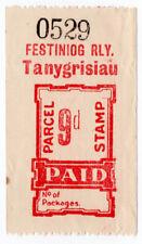 (I.B) Festiniog Railway : Parcel Stamp 9d (Tanygrisiau)