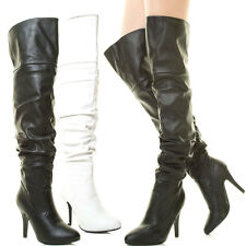 New Womens Slouch Over The Knee Thigh High Boot Zip Stiletto Heel Fold-Over