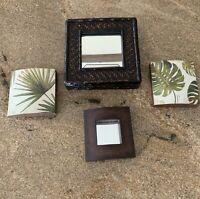 Lot 4 Leaf Embossed Leaf Hanging Art and Mirror Set Wall Home Decor Tropical Zen