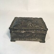Vintage Silver-Plated Embossed Footed Jewelry Trinket Box made in Japan