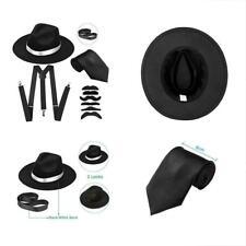 Men's Roaring 1920s Gangster Costume - Deluxe Manhattan Fedora Hat,Suspenders &
