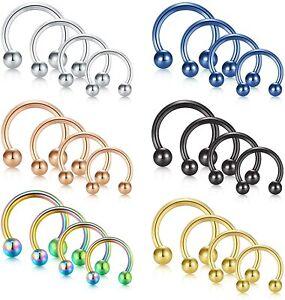 Horseshoe Bar Piercing Barbell Ring Surgical Steel Tragus Nose Septum Ear Nipple