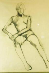 Herman Raymond signed original charcoal figure study one of a kind