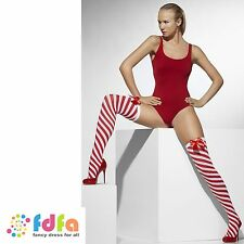 RED & WHITE STRIPE OPAQUE HOLD UPS STOCKINGS + BOWS UK 10-14 ladies hosiery