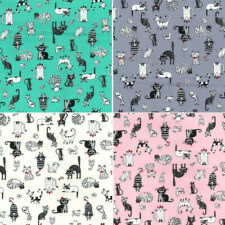 100% Cotton Poplin Fabric Rose & Hubble Cats Kittens About Town