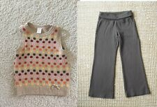 Gymboree PURRFECT AUTUMN brown knit pants polka dot sweater vest top 5 5T 6 EUC