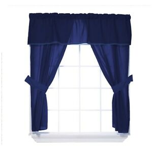 Baby Doll Bedding Solid Two Tone 5-Piece Window Valance Curtain Set, Navy/Navy