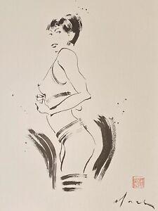 David Mack original art painting Woman watercolor art
