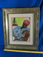 Original Art Watercolor Painting VTG Gold Frame African American Glass Mixed