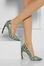 85% OFF: Nicholas Kirkwood £750 Green Python Curved Heel Pumps New IT36/UK3