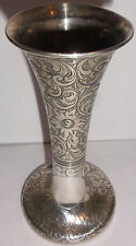 Exquisite antique Tiffany co  Sterling silver flowers decorated bud vase