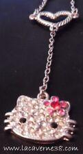 Collier chaine+pendentif Hello Kitty +coeur fleur strass rose fermoir mousqueton