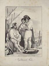 Litho PECHEURS NAPOLITAINS NAPLES NAPOLI COSTUMES ITALIE ITALIA MARINE XIX 1840