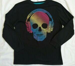 Old Navy Skull Headphones Long Sleeve Shirt Black Boys Large 10-12