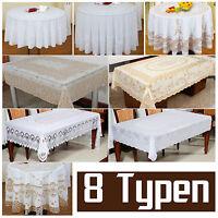 PVC Spitze Tischdecke Tischtuch Tafeltuch Hohlsaum weiß rund eckig abwaschbar