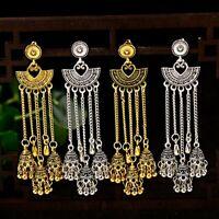 Vintage Jhumka Jhumki Ethnic Long Tassel Bell Drop Earrings Gypsy Indian Jewelry