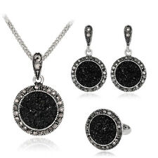 Luxurious Round Black Rhinestones Necklace Ring Earrings Silver Jewelry Set Gift