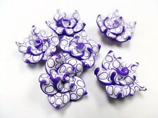 10 Fimo Polymer Clay White Purple  Flower Rose Fimo Beads 25mm