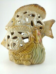 Fish Figure Candle Light Tea Light Holder Rustic Style Warm Colors Ceramic