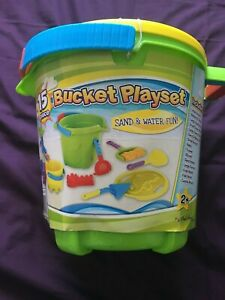 Green Bucket Pail Sand & Water Fun 15 Pieces , Seahorse Sifter Lid Molds Tools