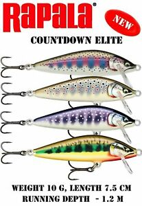 Rapala Countdown ELITE Lure - Pike Perch Salmon Trout Bass Lures - All Colours
