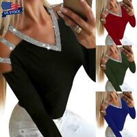 Women's Sexy Sequin Hollow out Bandage Blouse Top Long Sleeve Casual T-Shirt