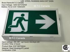 M.T.C Canada LED Running Man Exit Sign Steel Housing PC Panel Input 120V-347V