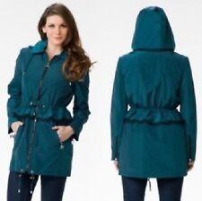 Betsey Johnson Anorak Rain Coat Peplum Teal - Medium
