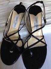 Jimmy Choo Women's Black Aligator Sandals Size 38.5